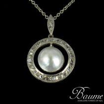 Pendentif Or blanc, Perle et Diamants 1930