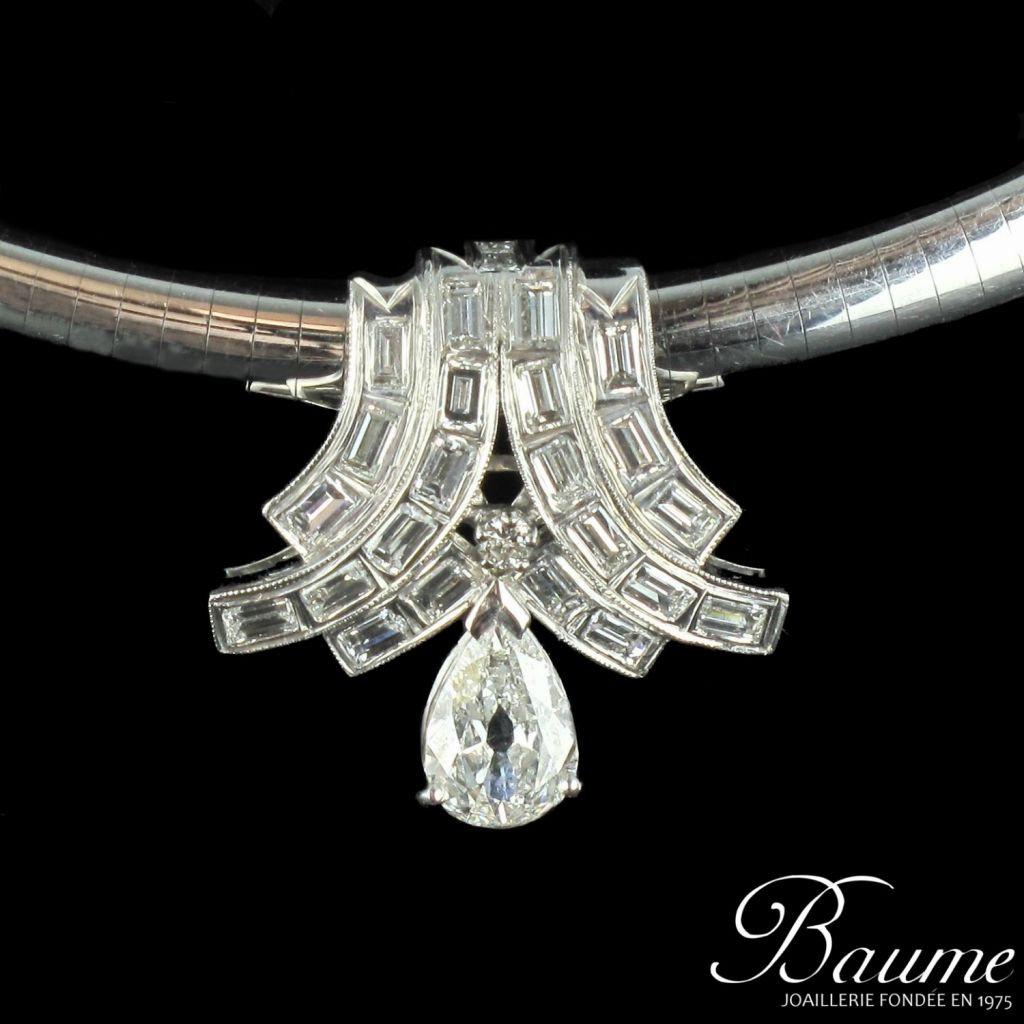 Pendentif or blanc diamants et sa chaîne