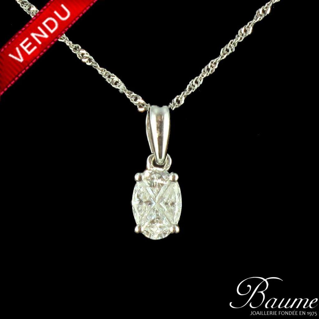 Pendentif or blanc diamants