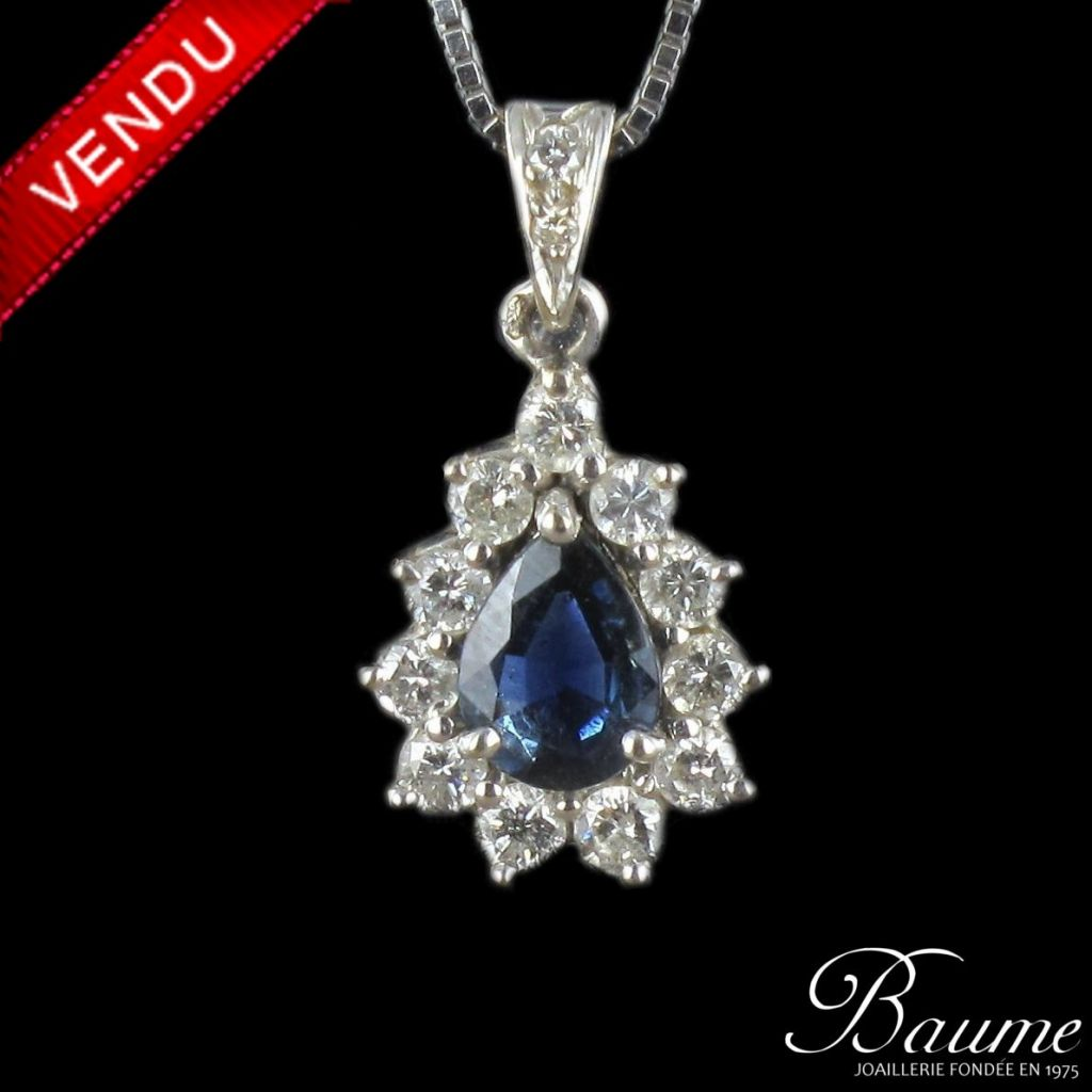 Pendentif or blanc saphir diamants