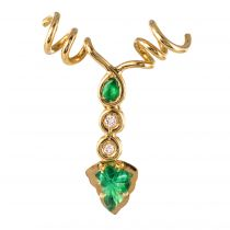 Pendentif or et émeraudes et diamants feuilles de vignes