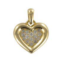 Pendentif or jaune et diamant en cœur