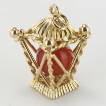 Pendentif or pagode cornaline