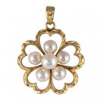 Pendentif or trèfle de perles
