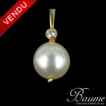 Pendentif Perle et Diamant en Or jaune
