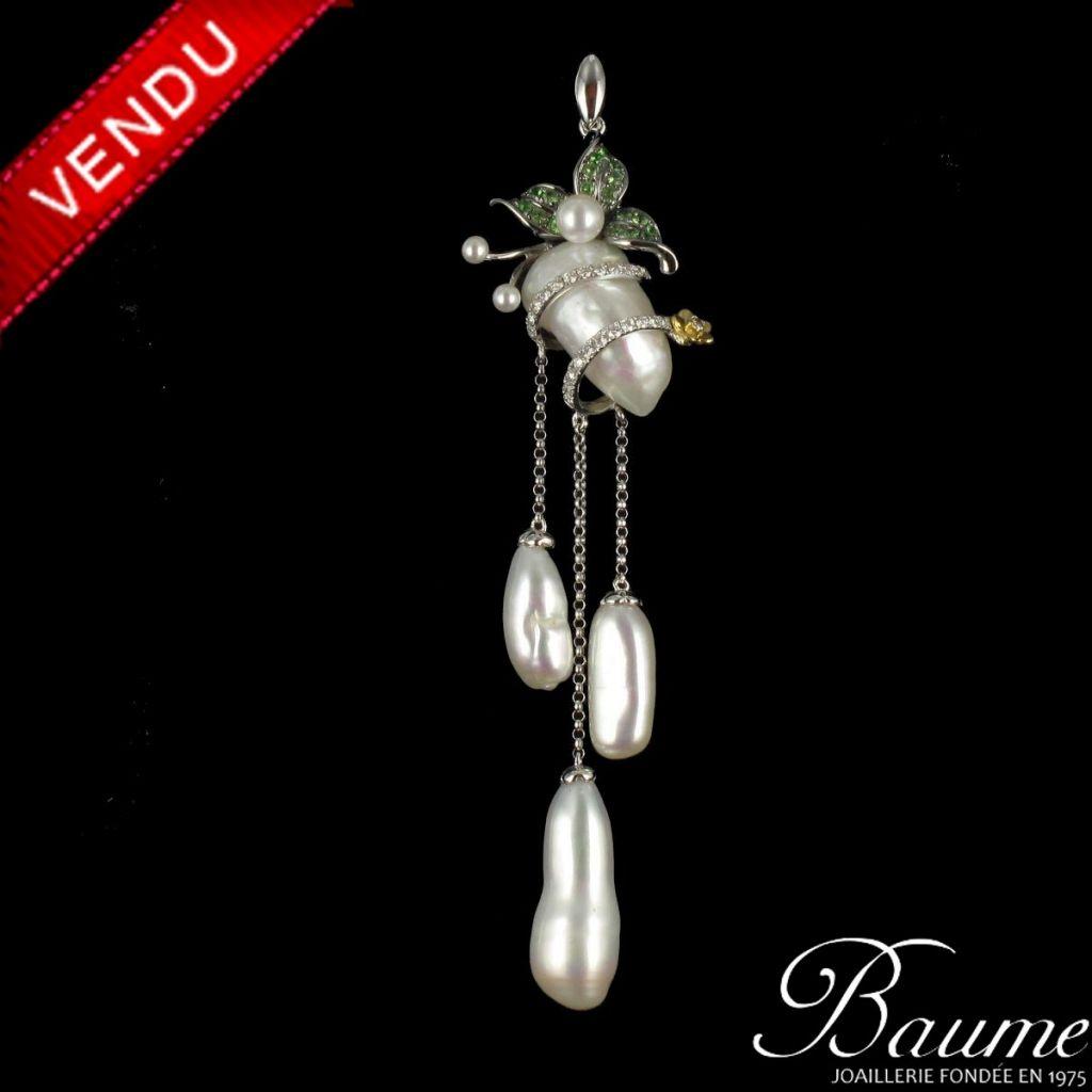 Pendentif Perles et saphirs