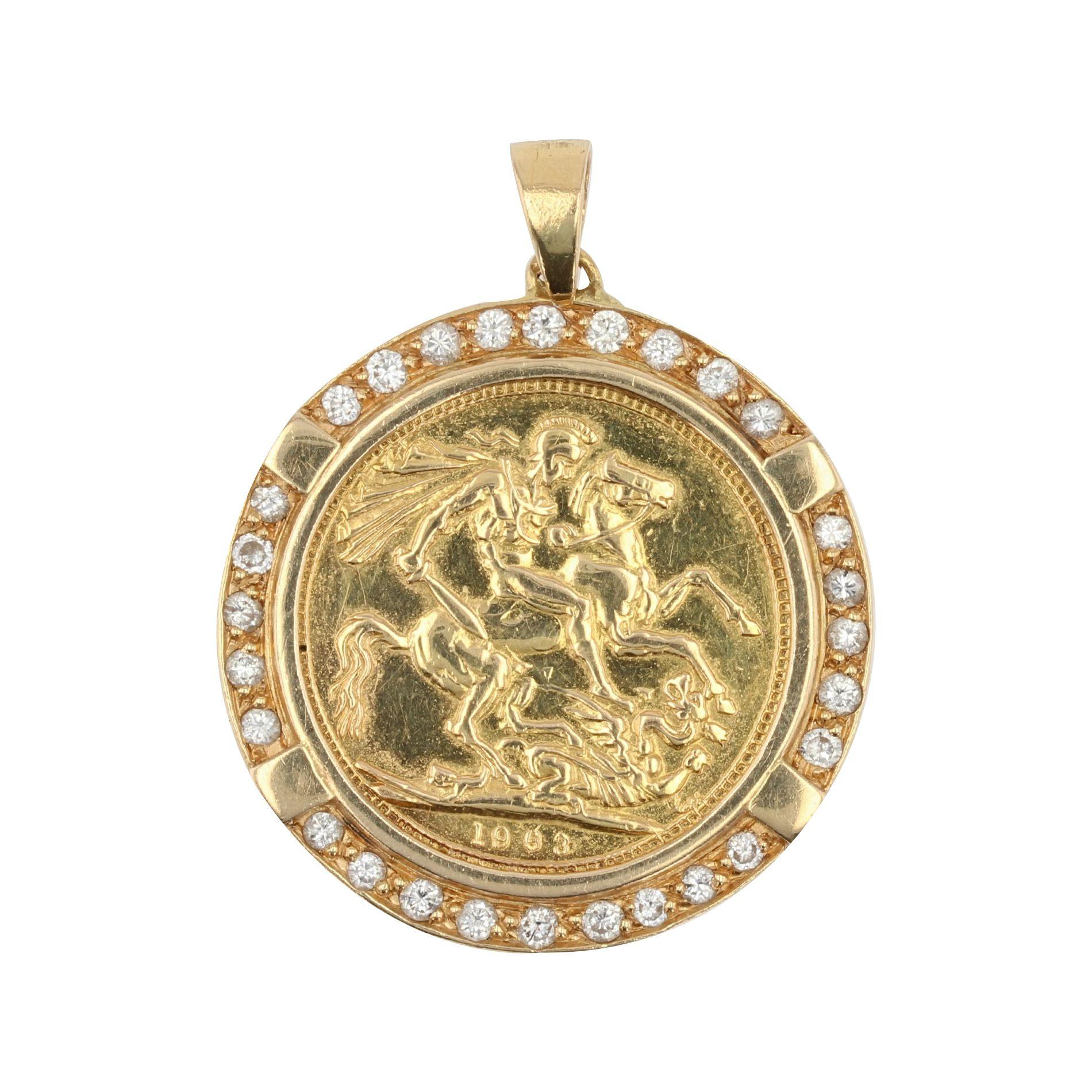 Pendentif Pièce Barbade en or et son entourage de diamants