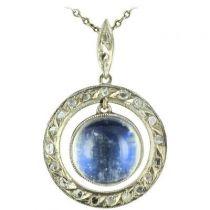 Pendentif pierre de lune et diamants