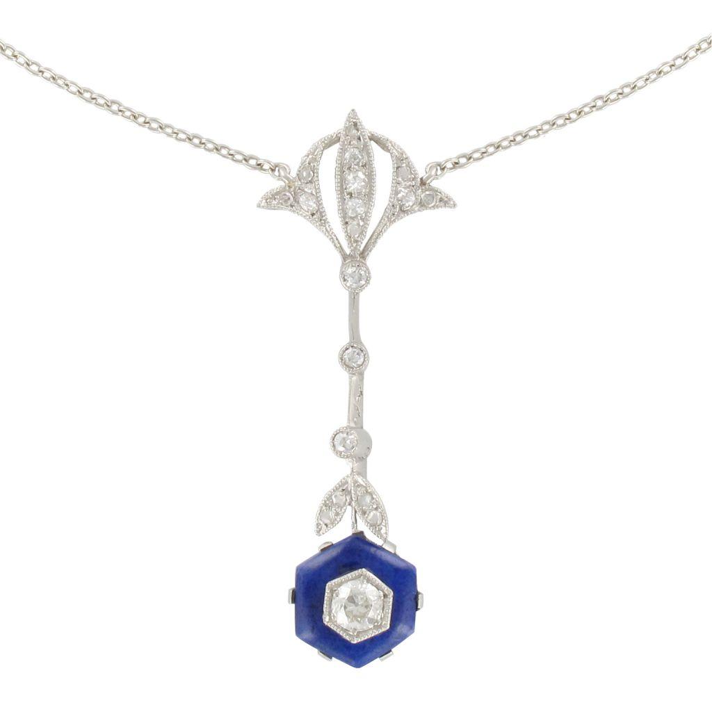 Pendentif platine ancien diamants et émail bleu
