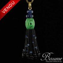 Pendentif pompom jade, onyx et saphirs