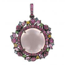 Pendentif quartz rose saphirs topazes et grenats