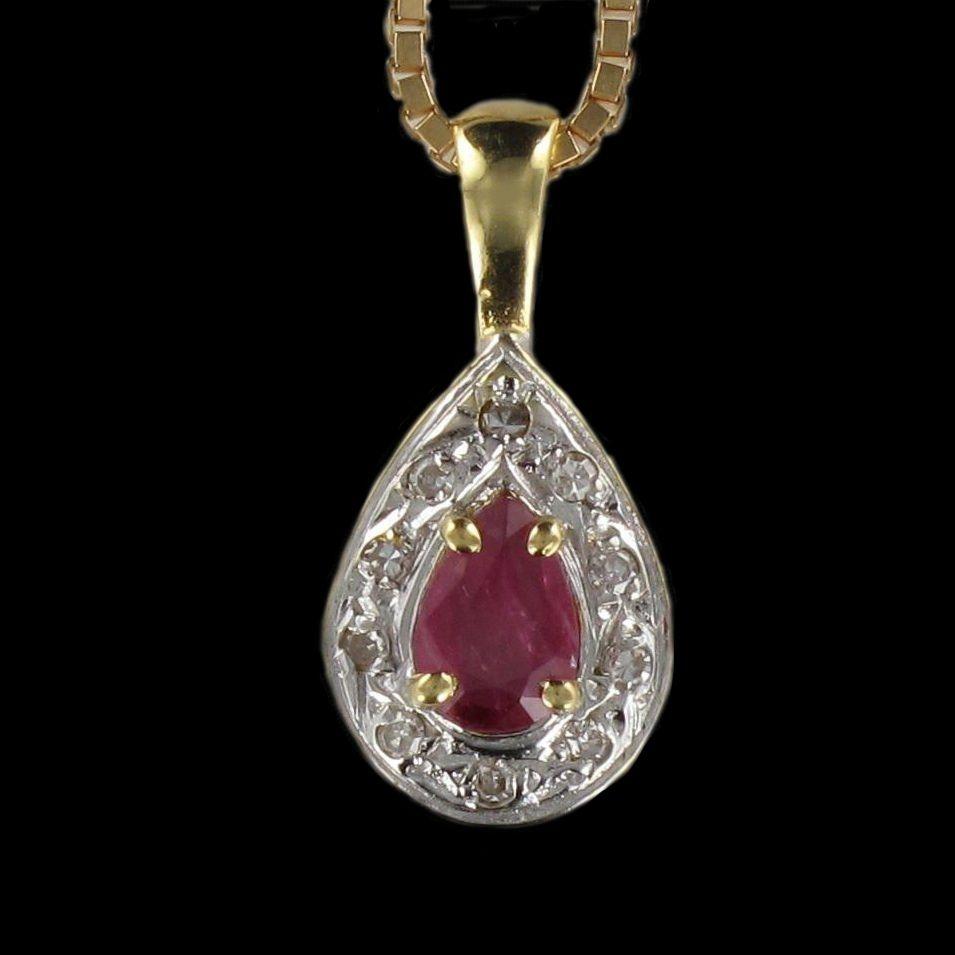 Pendentif rubis diamants en or jaune