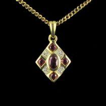 Pendentif rubis diamants losange