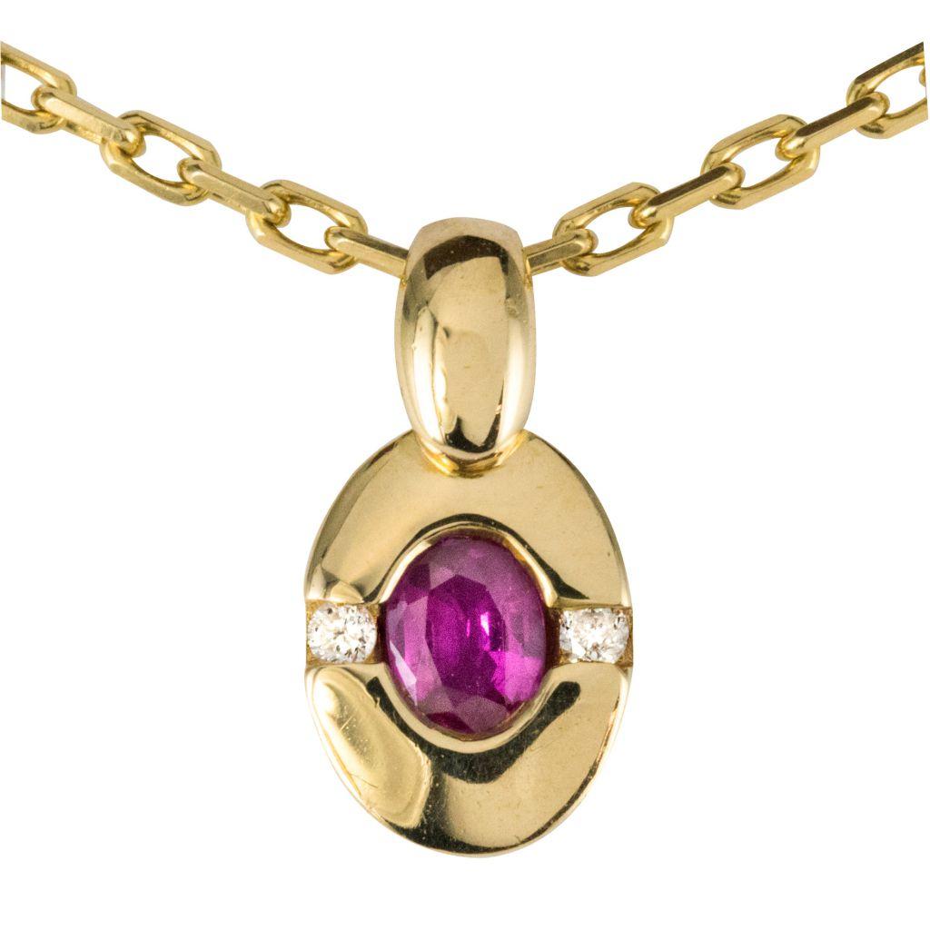 Pendentif rubis diamants or jaune