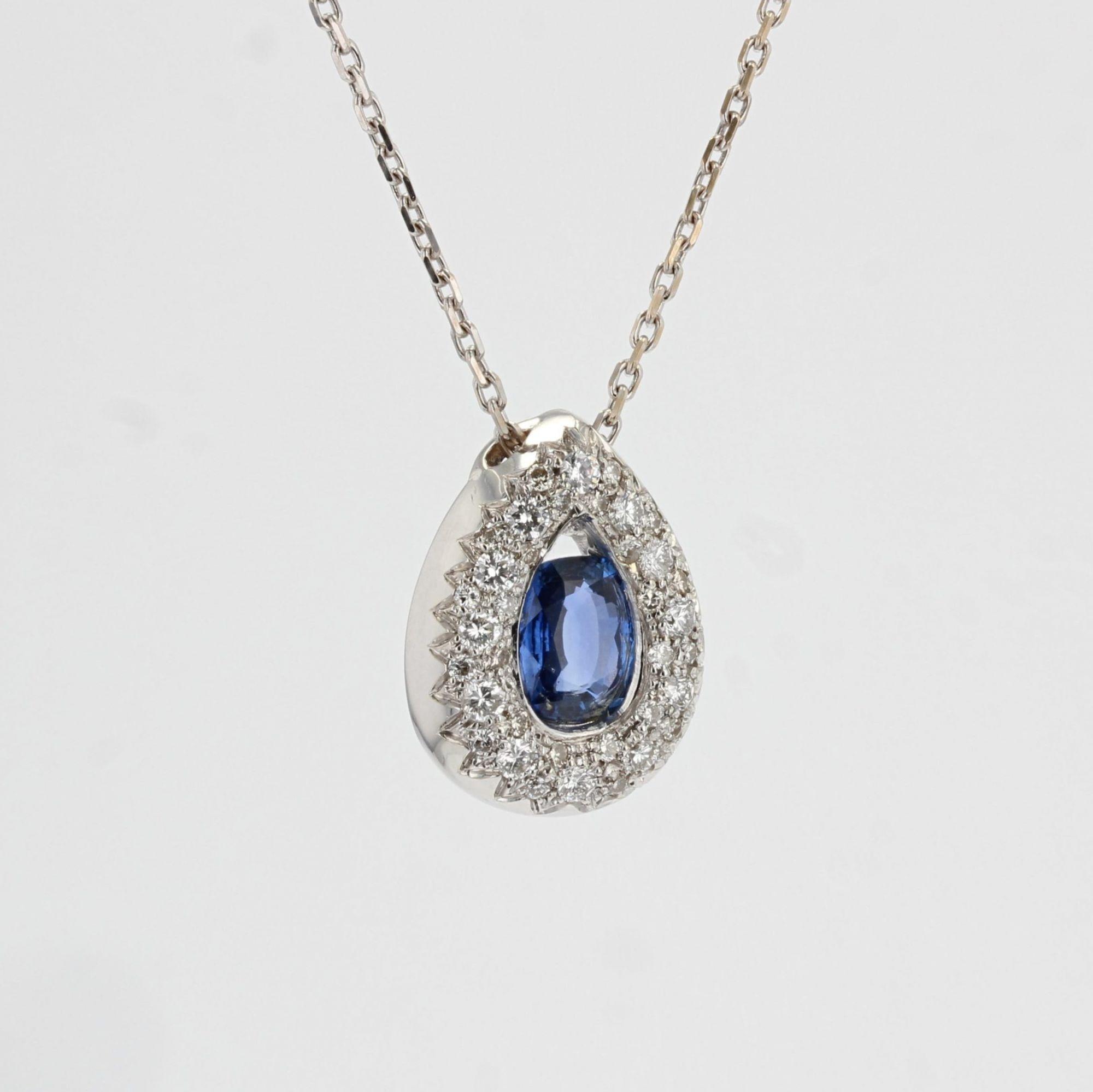 Pendentif saphir diamants goutte et sa chaine