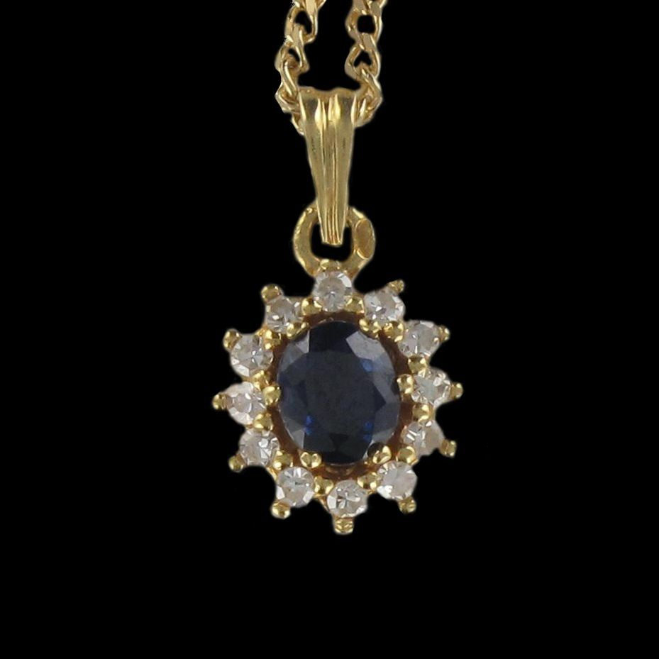 Pendentif saphir diamants marguerite
