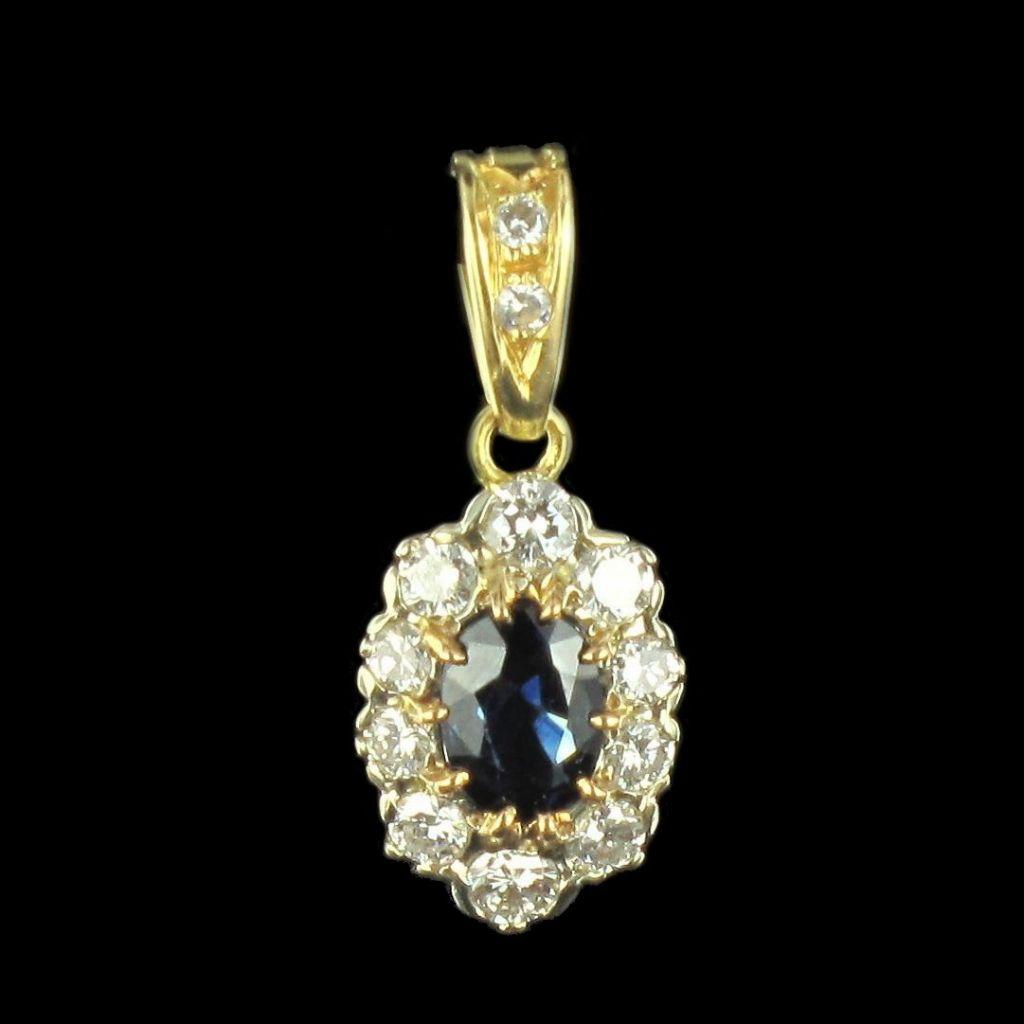 Pendentif saphir et diamants en or jaune