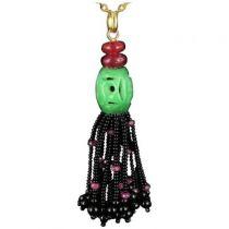 Pompon jade, rubis et onyx