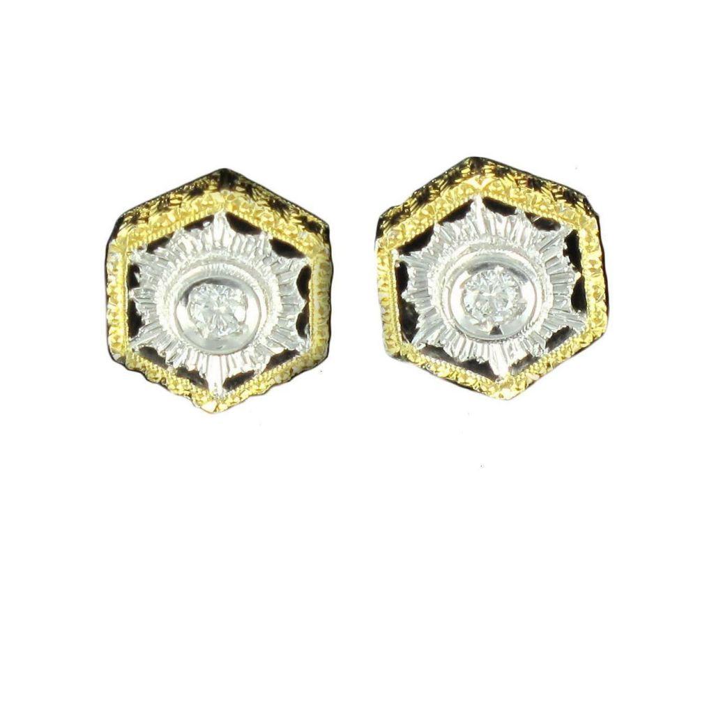 Puces d 'oreilles diamants dentelle d 'ors