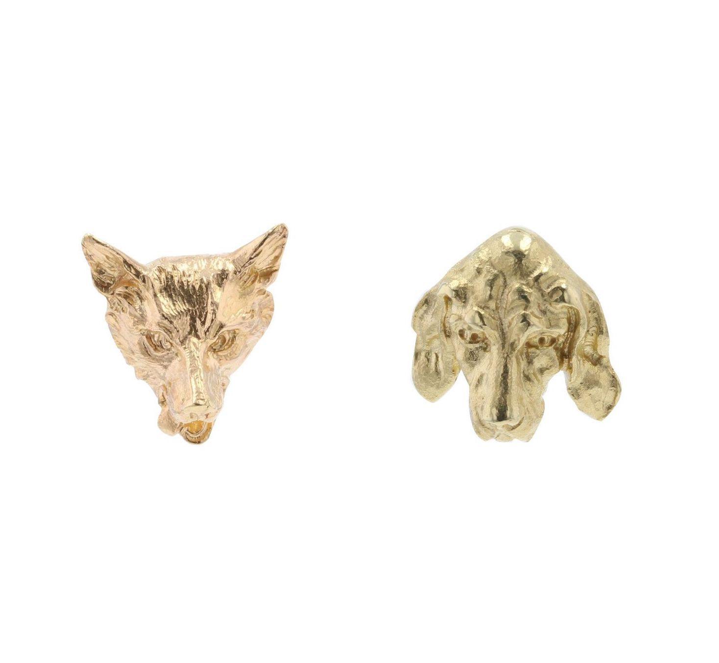 Puces d\'oreilles anciennes en or renard et chien
