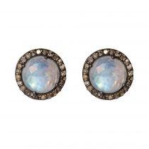 Puces d\'oreilles pierres de lune et diamants