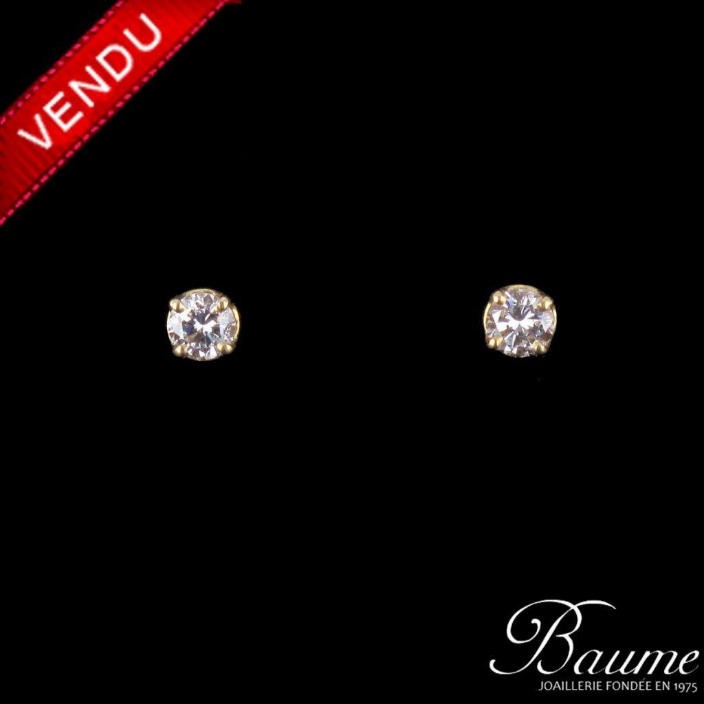 Puces diamants or jaune