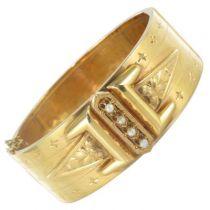 Rare Antique bracelet - Antique Diamonds Real pearls bangle bracelet