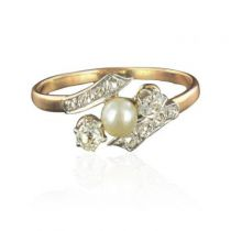 Rare Antique ring - Antique Real pearl Diamonds ring - French Antique Jewelry