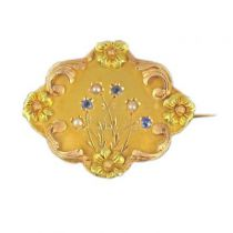 Sapphires and Pearls Pin Old Gold 18K Fines