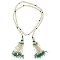 Sautoir perles, émeraudes et onyx