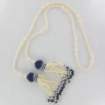 Sautoir Perles et Saphirs