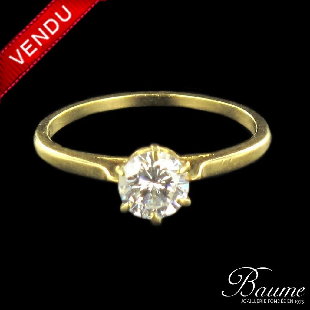 Solitaire diamant en or jaune