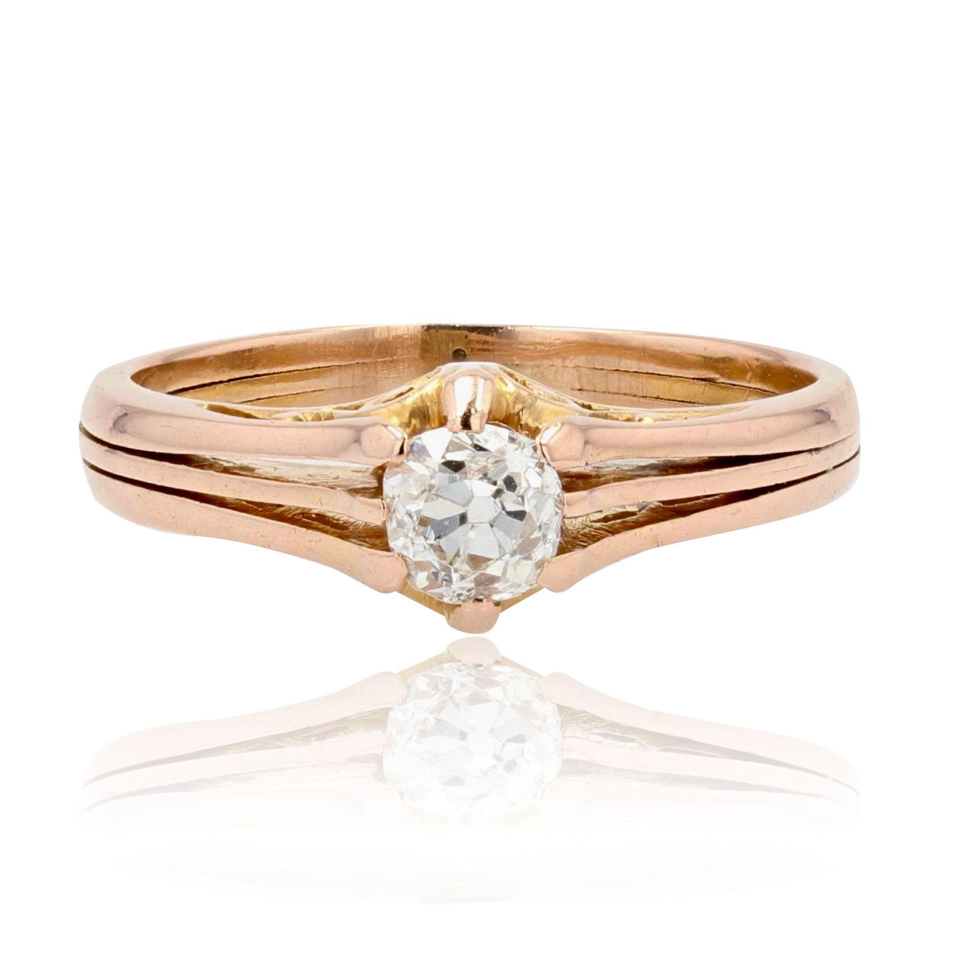 Solitaire diamant or rose