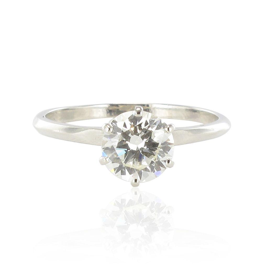 Solitaire Sur Ring Platine Bague Vintage Moderne Classique Diamant AL54Rj