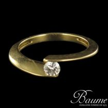 Solitaire or jaune et diamant